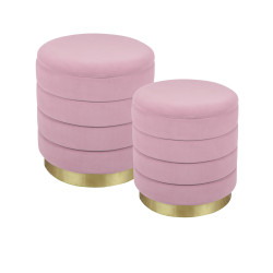 Set de 2 poufs rose bibum...