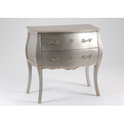 Commode 2 tiroirs argent...